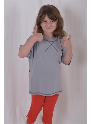 iandb Gri Baskılı Unisex Çocuk T-shırt Bianca Gri